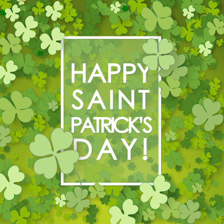 St Patrick's Day background. Vector illustration for lucky spring design with shamrock. Vectores