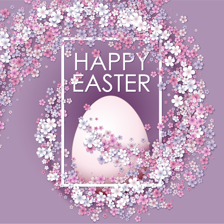 april beautiful: Happy Easter background with frame egg and flowers