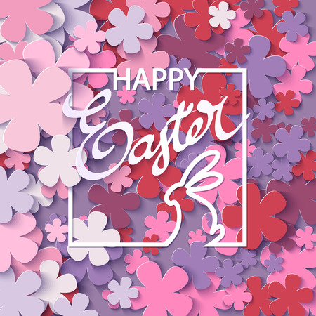 easter background: Happy Easter flower background with frame rabbit