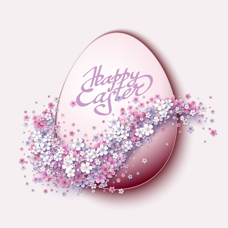 Fondo feliz de Pascua con huevos y flores de primavera Ilustración de vector