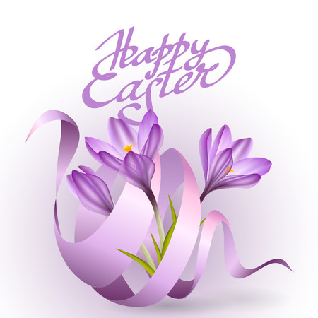 greeting season: Happy Easter greeting card template. Flowers crocus and pink ribbon