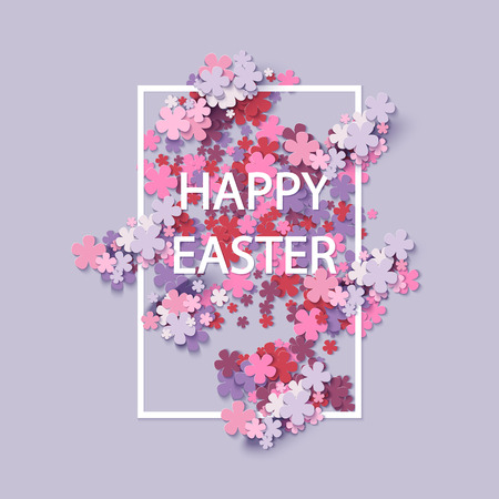 easter flowers: Happy Easter background with frame flowers