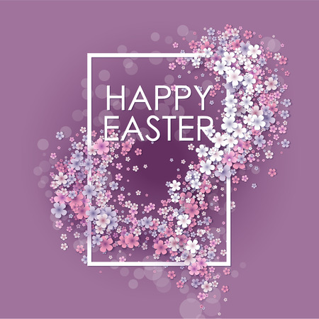 pink flower background: Happy Easter background with frame egg and flowers