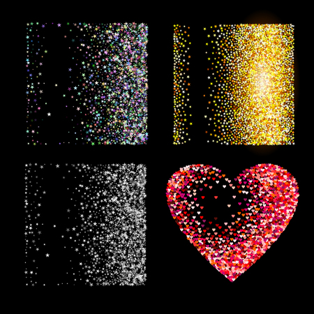 silver texture: Shiny golden silver glitter and red heart on black  background Illustration