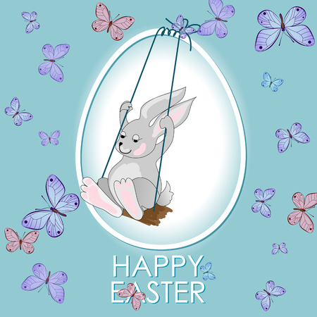 butterfly rabbit: Happy Easter greeting card with rabbit, bunny, egg, butterfly