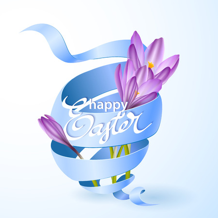 blue ribbon: Easter poster with blue ribbon and crocus flowers. Vector illustration