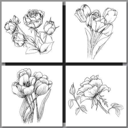 Set of Romantic vector background with hand drawn flowers isolated on white.  Ink drawing illustration. Line art sketching. Floral design for wedding invitations, cards, congratulations, branding. Vettoriali