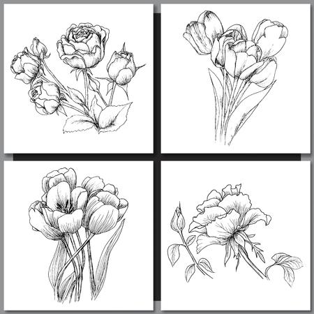 Set van romantische vector achtergrond met de hand getekende bloemen op wit wordt geïsoleerd. Inkttekening illustratie. Line art schetsen. Bloemen ontwerp voor bruiloft uitnodigingen, kaarten, gefeliciteerd, branding.