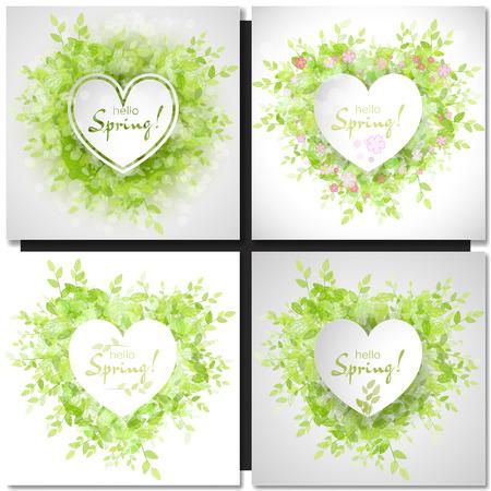 hello heart: Set of Fresh spring green grass leaves frame template with white heart frame. Hello Spring design vector illustration. Trendy Design Template.