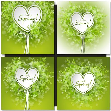 Set van verse lente groene boom bladeren frame sjabloon met wit hart frame. Hallo Spring design vector illustratie. Trendy Design Template.