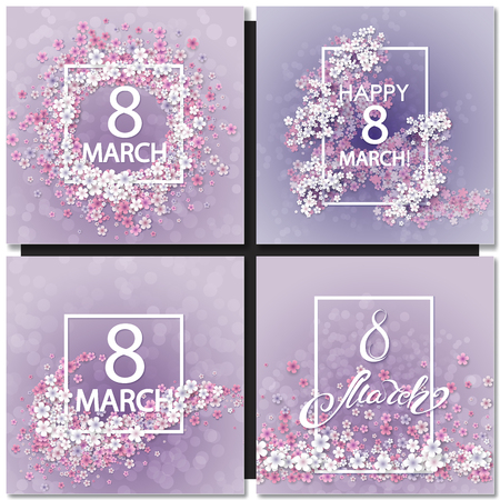 purple abstract background: Set of Abstract Purple Floral Greeting card - International Happy Womens Day - 8 March holiday background with Frame Flowers. Trendy Design Template. Vector illustration.