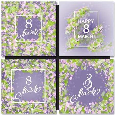 Ensemble de carte de voeux floral pourpre abstraite - Journée internationale de la femme heureuse - 8 mars Fond de vacances avec cadre Fleurs et feuilles. Modèle de conception à la mode. Illustration vectorielle.