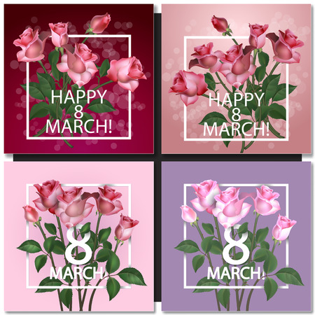 8 march: Set of Abstract Purple Floral Greeting card - International Happy Womens Day - 8 March holiday background with Frame and roses Flowers. Trendy Design Template. Vector illustration. Illustration