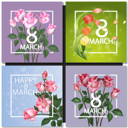 abstract flowers: Set of Abstract Purple Floral Greeting card - International Happy Womens Day - 8 March holiday background with Frame and roses Flowers. Trendy Design Template. Vector illustration. Illustration