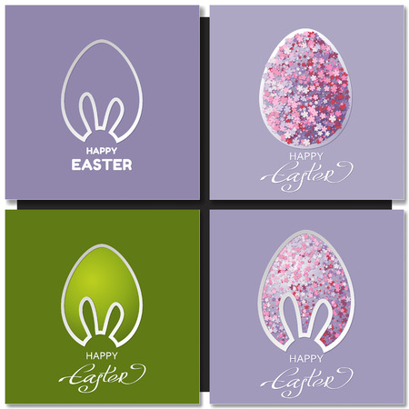 rabbit ears: Happy Easter cards set with bunny ears, Easter eggs, rabbit, Easter cake, flowers, text, vector illustration