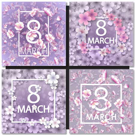 snowdrops: Set of Vector card for 8 march. International Women Day. Floral frame with crocuses and  snowdrops. Purple background Illustration