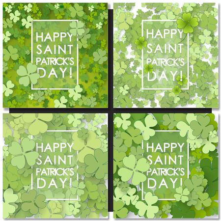 lucky clover: Set of St Patricks Day backgrounds. Vector illustration for lucky spring design with shamrock. Green clover with white border isolated on green background. Ireland symbol pattern