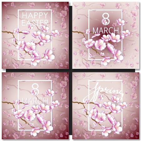 fleur cerisier: Jeu de cartes de voeux avec un sakura de fleur pour votre conception. fond rose tendre avec motif floral japonais avec cadre blanc