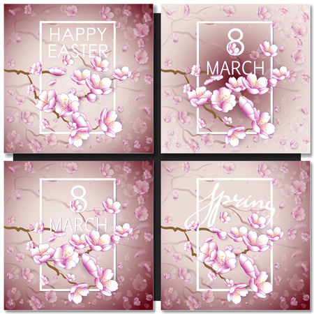 cherry blossom: Set of greeting cards with a blossom sakura for your design. Tender pink background with japanese floral pattern with white frame