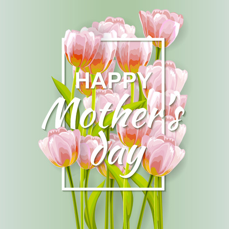bunch of flowers: Happy Mothers day Typographical Background With Bunch of Spring Tulips Flowers. Mother day greeting card. Vector illustration. Illustration