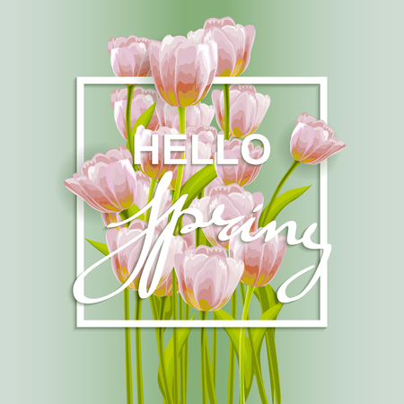 pink flower background: Flower tulip background. Floral frame with pink spring flowers. Tulips posy border isolated.