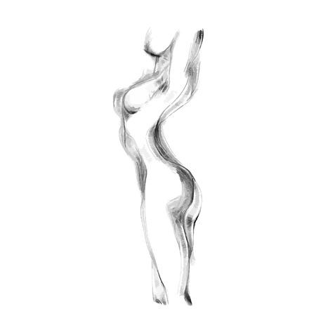 Silhouette di bella nuda donna illustrazione vettoriale. opere d'arte Sketch del corpo della donna. Archivio Fotografico - 55789843