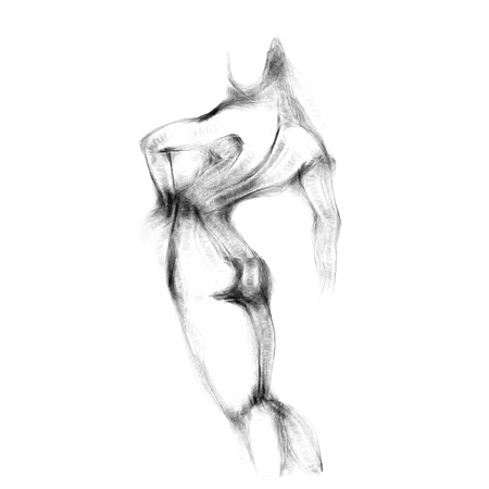 beautiful nude woman: Silhouette of beautiful nude  woman vector illustration. Sketch artwork of woman body. Illustration