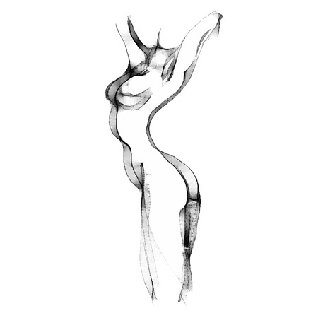 Silhouette of beautiful nude  woman vector illustration. Sketch artwork of woman body. Çizim
