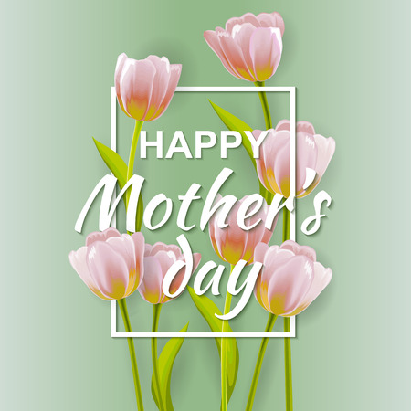 Happy Mother's day Typographical Background With Bunch of Spring Tulips Flowers. Mother day greeting card.