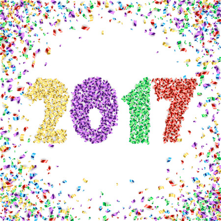 festive background: New Year 2017 celebration background. Happy New Year colorful digital type on white background with confetti. Greeting card template.