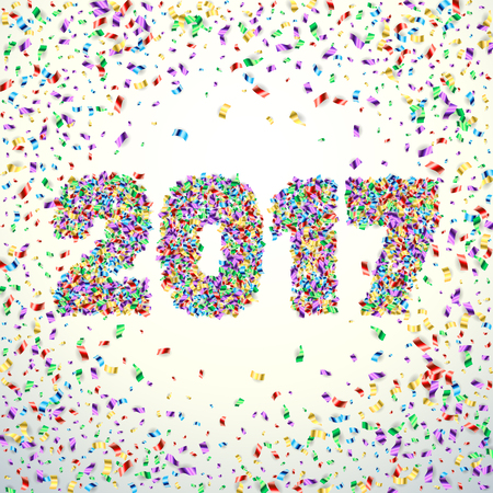 year greetings: New Year 2017 celebration background. Happy New Year colorful digital type on white background with confetti. Greeting card template.