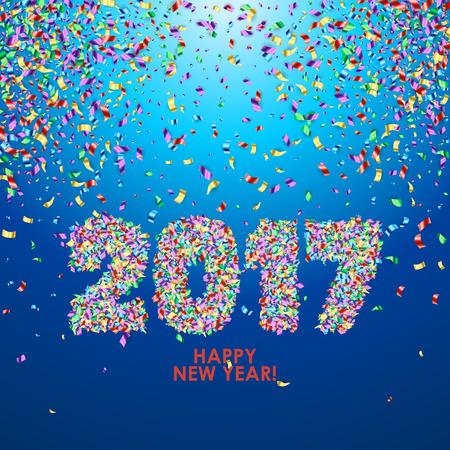 New Year 2017 célébration fond. Happy New Year Type numérique coloré sur fond bleu avec des confettis. Salutation modèle de carte.