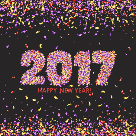 new years background: New Year 2017 celebration background. Happy New Year colorful digital type on black background with confetti. Greeting card template.
