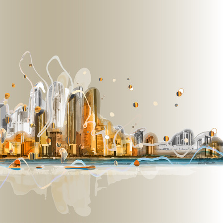 sky scape: Colorful silhouette of city panorama. Conceptual abstract city image. EPS10 vector background.
