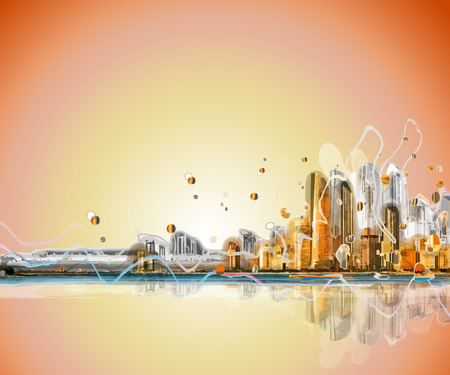 abstract city: Colorful silhouette city sunrise panorama . Conceptual abstract city image.
