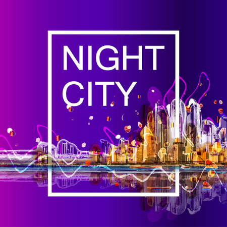 city night: Colorful silhouette city night panorama . Conceptual abstract city image. Illustration