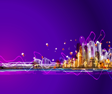 city at night: Colorful silhouette city night panorama . Conceptual abstract city image. Illustration
