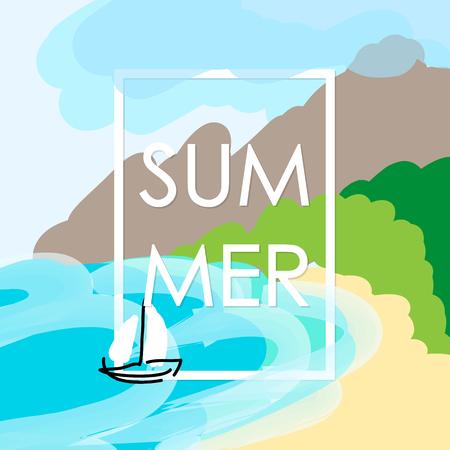 naive: Child drawing style. Summer vacation frame. Sea beach and sail boat. Vector illustration