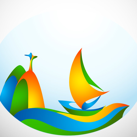 brazilian flag: Sign sailing boat with silhouette of monument in colors of the Brazilian flag. Brazil Carnival. Vector illustration