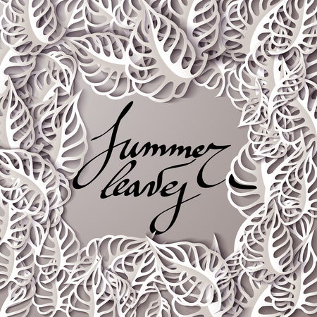 cut paper: Beautiful summer greeting card with leaves. Vector illustration. Typographic lettering template for your text. Paper cut leaf with shadows.
