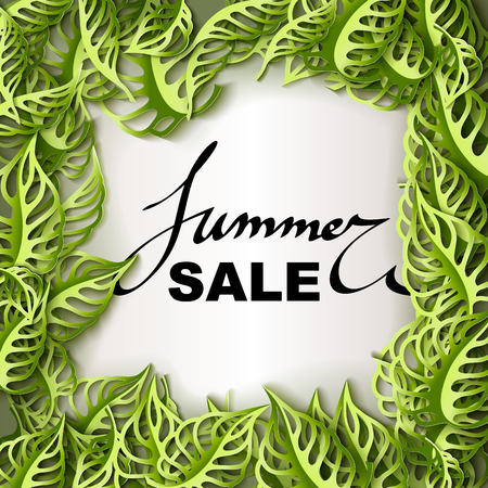 paper tag: Summer Sale decorative banner. Paper cut green leaves background. Hand drawn lettering summer tag. Sale poster with leaves.