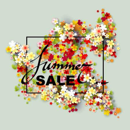 Summer Sale bannière avec des fleurs en papier et cadre noir. Vector illustration. Vecteurs