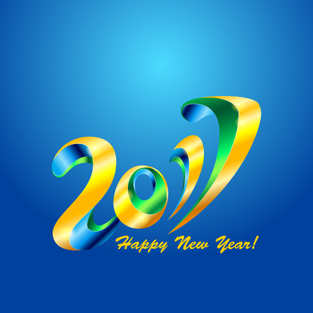 happy new years: New Year 2017 celebration background. Happy New Year colorful digital type on blue background with confetti. Greeting card template. Vector illustration.