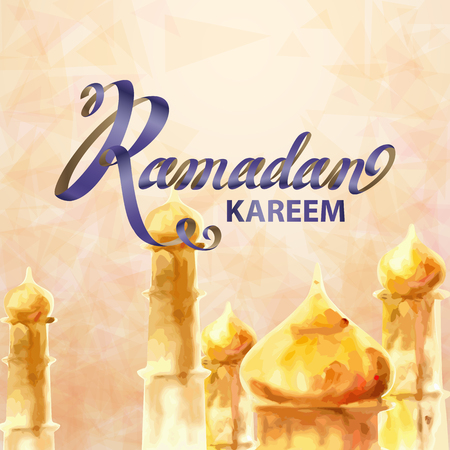 greeting cards: Illustration of Ramadan kareem and Ramadane mubarak in style watercolor of Mosque. Traditional greeting card wishes holy month moubarak and karim for muslim and arabic