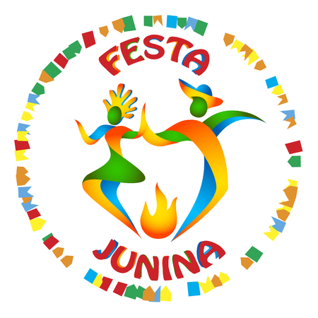 brazilian flag: Festa Junina dancers man and woman in color Brazilian flag. Traditional Brazil June festival party. Vector illustration.
