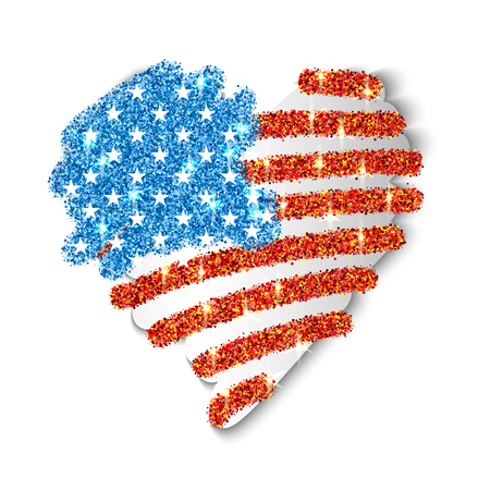 AMERICAN FLAG: American Flag heart shaped for Independence Day design 4 july. Vector illustration.