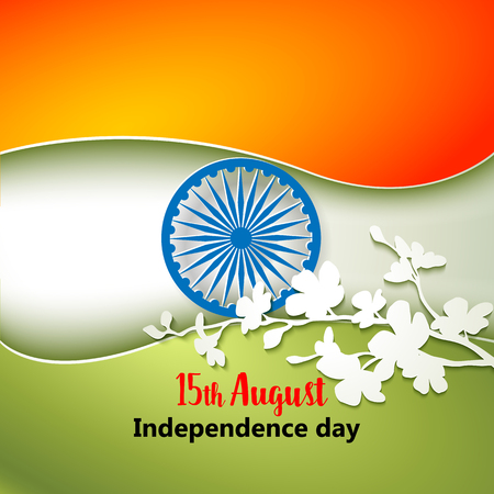 august: Indian Independence Day concept background with Ashoka wheel and flowers. Vector Illustration
