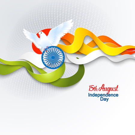 august: Indian Independence Day concept background with Ashoka wheel and dove. Vector Illustration Illustration