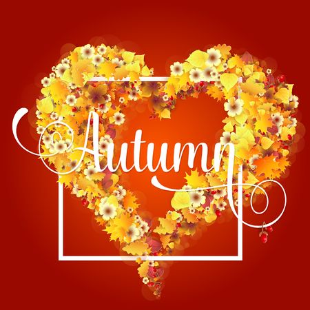 balanced: Autumn Frame in Shape of Heart With Falling Yellow and Orange Leaves. Fall Background. Elegant Design with Text lettering and Balanced Colors. Vector Illustration.