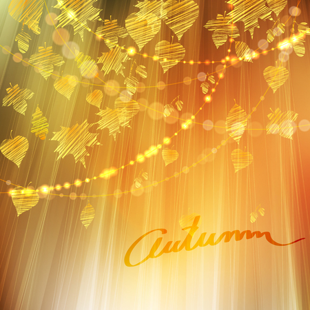 fall leaves background: Autumn background with different gold leaves and bokeh lights, fall vector illustration